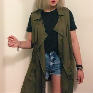 Military Green Long Soft Trench Vest Side Slits
